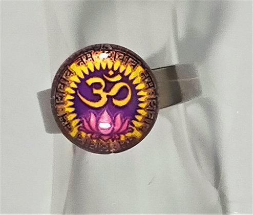 Bague réglable Om violette