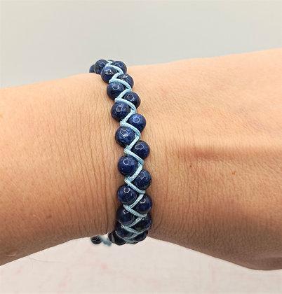 Bracelet double rang en perles de Jade bleu