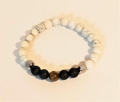 Bracelet howlite/agate noire/œil de tigre