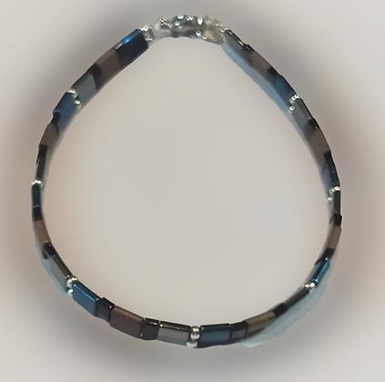 Bracelet hématite marron, noir, argent, bleu-gris