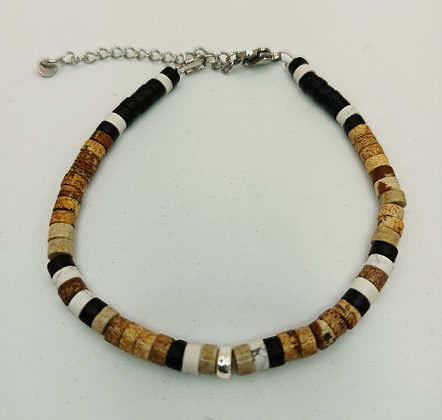 Bracelet homme Jaspe paysage/onyx/turquoise blanc