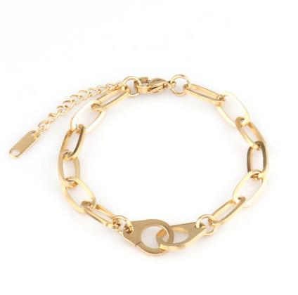 Bracelet menottes gros maillons en acier inox doré