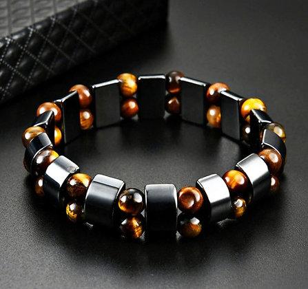 Bracelets double œil de tigre hématite