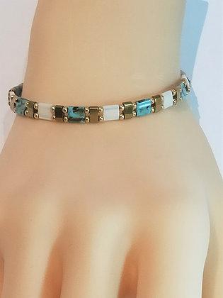 Bracelet duo doré/blanc/turquoise