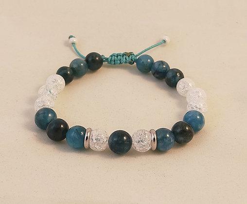 Bracelet ajustable apatite bleu / cristal de roche craquelé