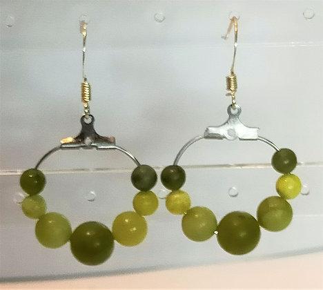 Boucles d'oreilles argenté/agate vert