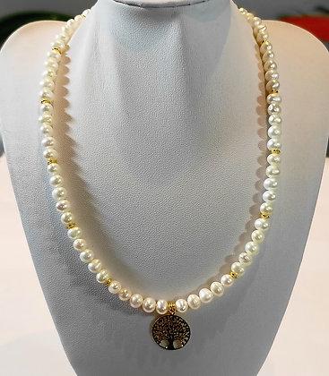 Tour de cou perles d'eau douce/arbre de vie doré