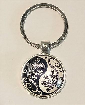Porte-clés ying yang lézard