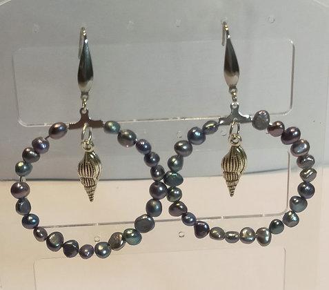 Boucles d'oreilles perles d'eau douce bleu/coquillage