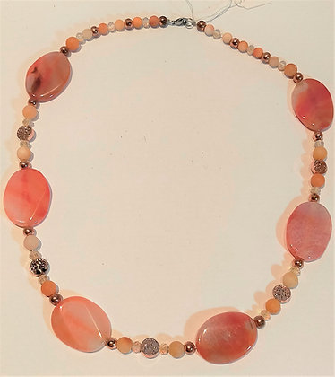 Collier pierres semi-précieuses agate ovale Pêche/aventurine/hématite