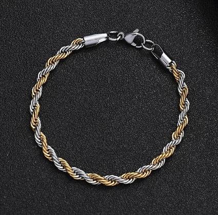 Bracelet à maillons en acier inoxydable et titane