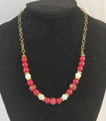 Collier jade rouge / cristal blanche naturelle / perles murano / doré