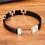 Thumbnail: Bracelet tendance en cuir véritable noir 12