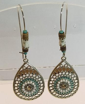Boucles d'oreilles goutte turquoise/blanc