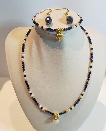 Parure 3pcs perles facettes bleu marine/blanc