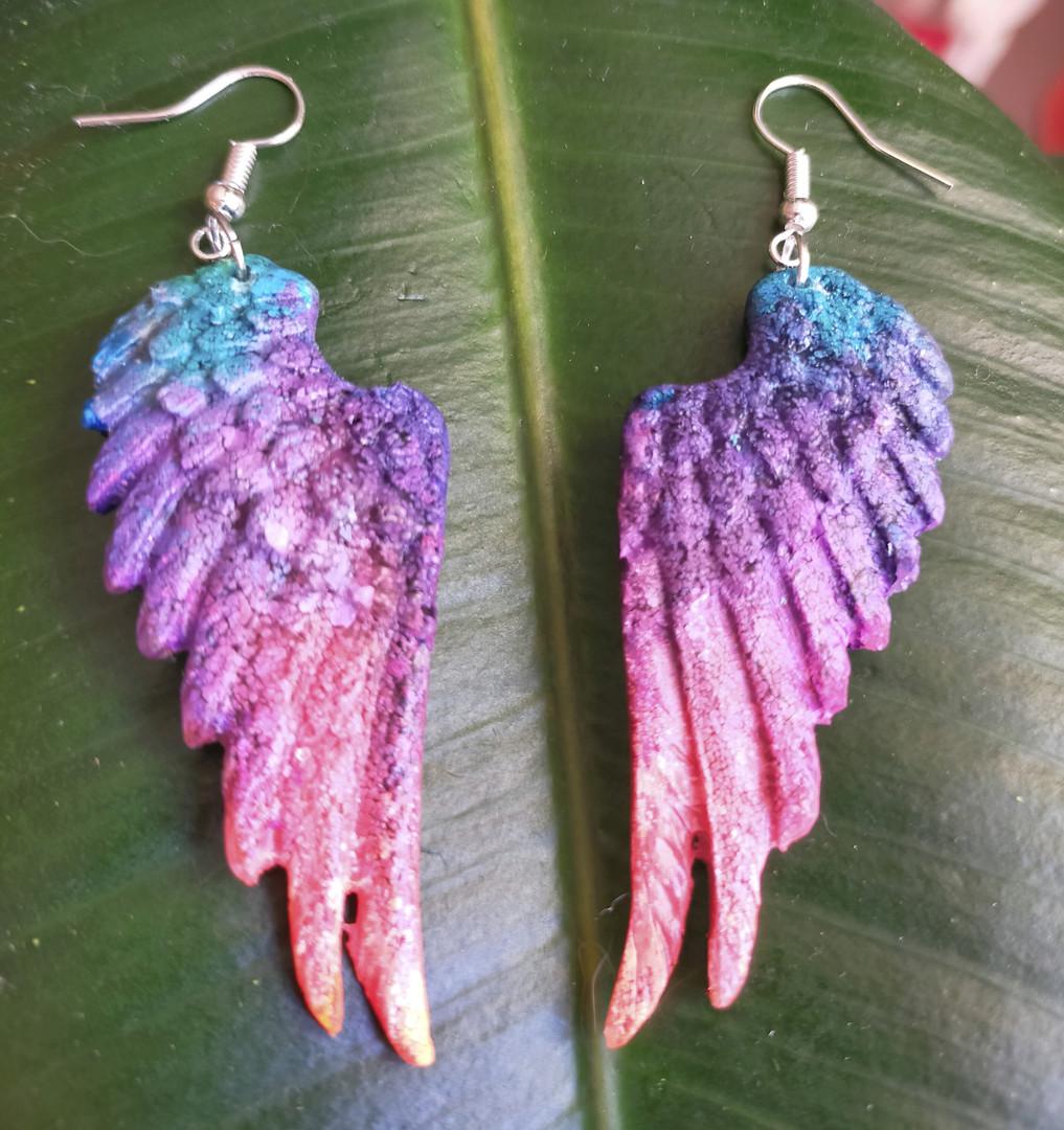 Boucles d'oreilles ailes d'ange résine et encres
