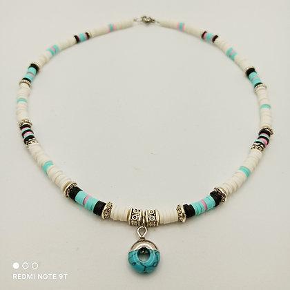 Tour de cou perles heishi blanc/turquoise/noir/rose/argenté