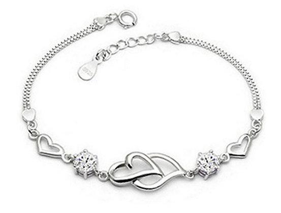 bracelet cœur à cœur en argent zircon transparent