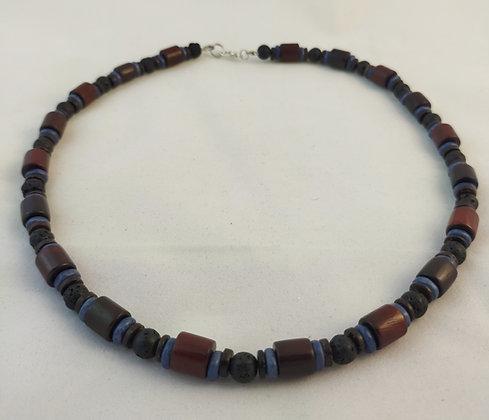 Collier pierre de lave/bois acajou/rondelles bleu