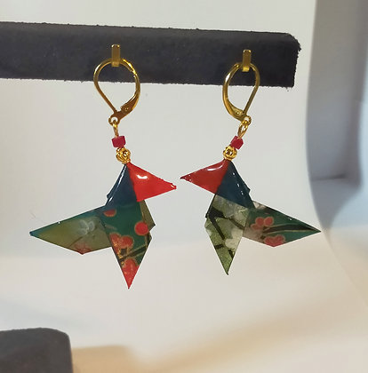 B.O. origami cocotte vert-rouge/doré