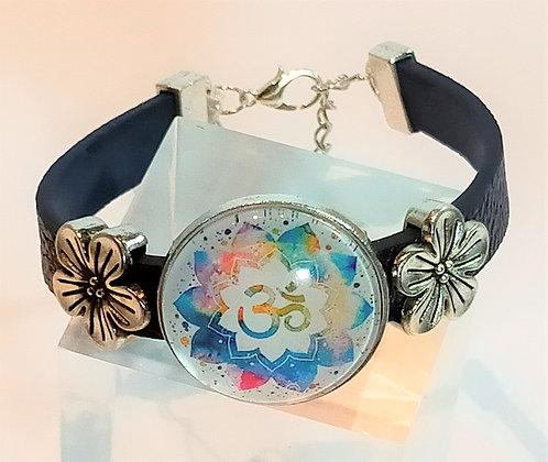 Bracelet cuir bleu marine Om