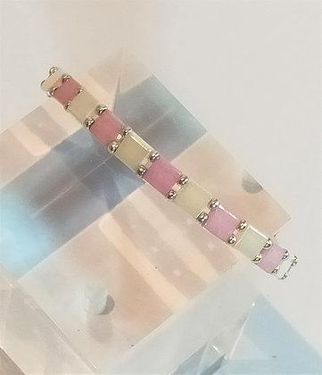 Bracelet duo argenté/blanc/rose