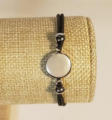 Bracelet élastique argenté/noir/blanc nacré
