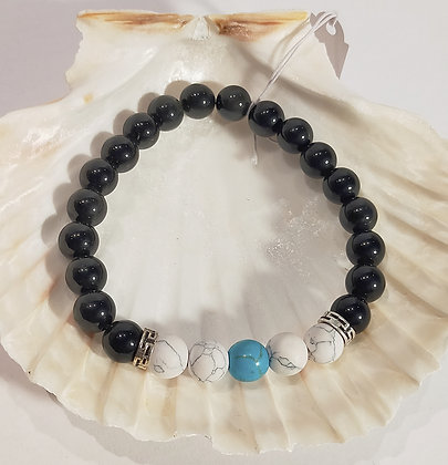 Agate noire, howlite, turquoise