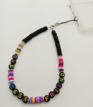 """Bijoux de portable noir/multicolore """"THE BEST FRIEND"""""""