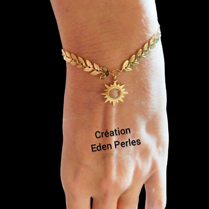 Bracelet soleil chaine feuille doré