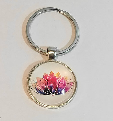 Porte-clés lotus tons rose/violet