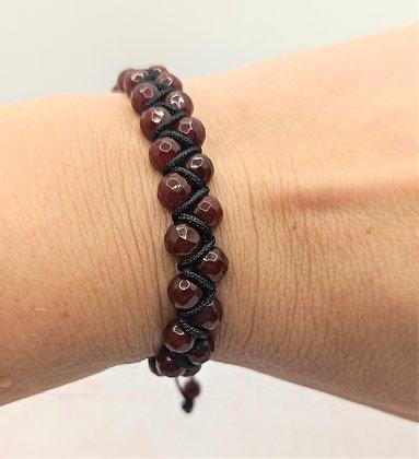 Bracelet double rang en perles de Jade rouge rubis