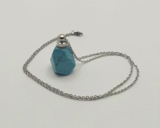 Collier bouteille de parfum turquoise