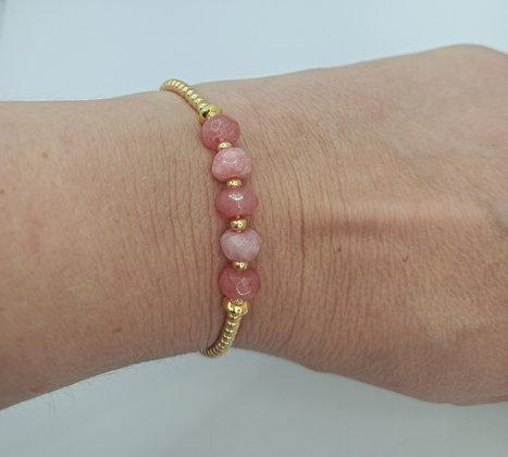 Bracelet rhodochrosite doré