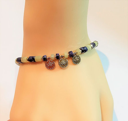 Bracelet P.N. Doré/Sodalite/Jade