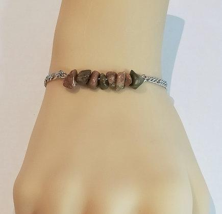 Bracelet argent/unakite