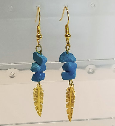Boucles d'oreilles doré/turquoise