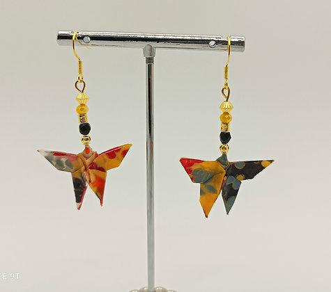 B.O. origami papillon orange/noir/doré