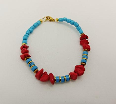 Bracelet hématite/corail rouge/turquoise2