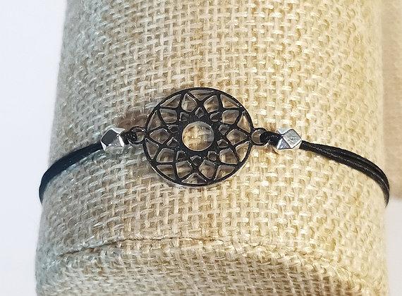 Bracelet élastique argenté/noir/mandala