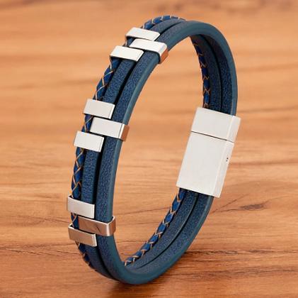 Bracelet tendance en cuir véritable bleu 15