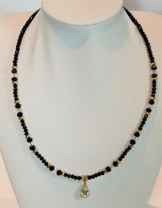 Tour de cou perles noires/transparent facettes goutte