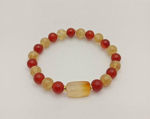 Bracelet cornaline/citrine/agate