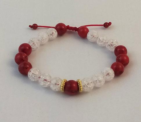 Bracelet ajustable jade rouge / cristal de roche craquelé / doré