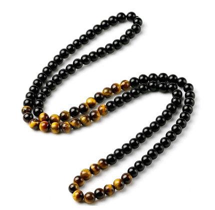 Collier en perles d'œil de tigre et obsidienne