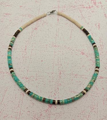 Collier homme ou femme pierres naturelles bleu cyan/œil de tigre/greige