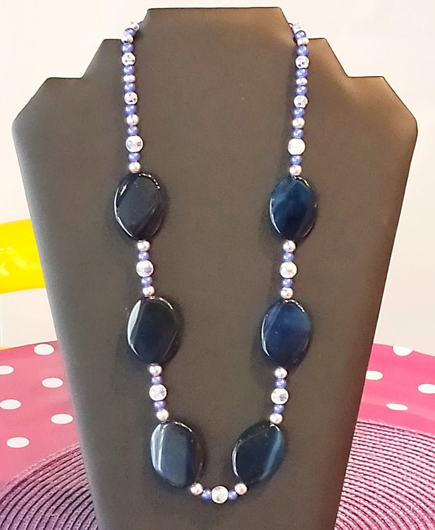 Collier grosses perles bleu