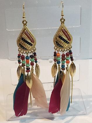 Boucles d'oreilles doré/plumes multicolores