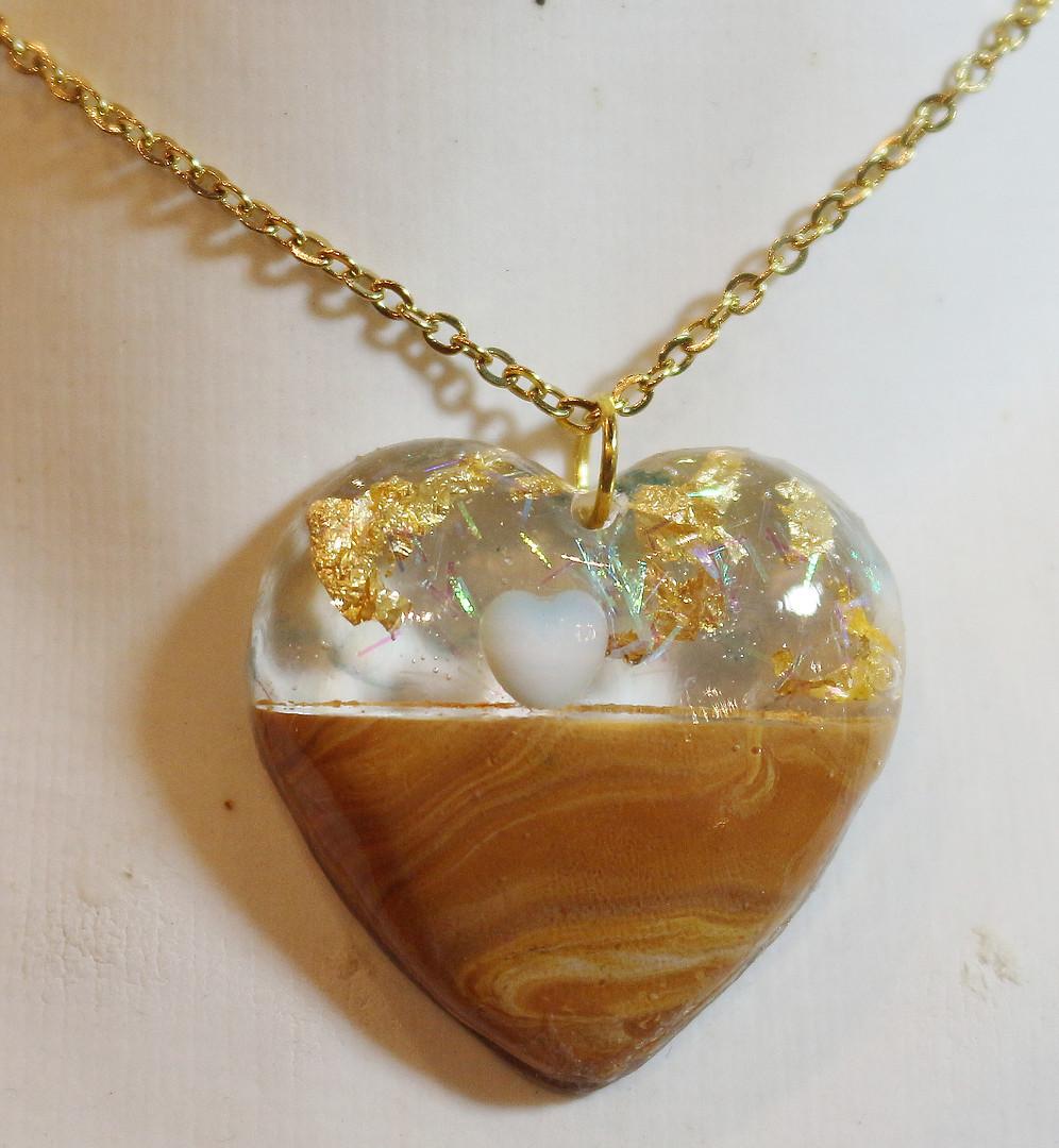Coeur Résine&polymère or