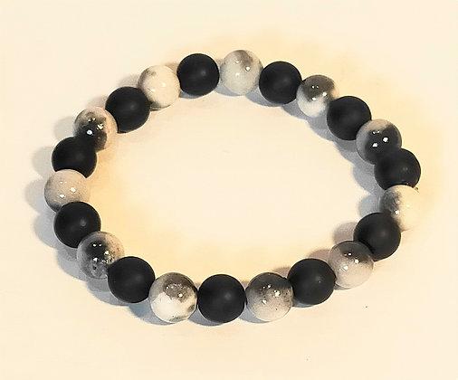 Bracelet agate noire/jade